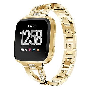 Javpoo Bandas de accesorios para Fitbit versa mujer, lujo Bling cristal de acero inoxidable reloj banda correa de reemplazo de pulsera para Fitbit versa ...