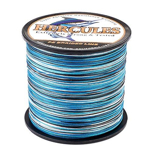 HERCULES Super Cast 500M 547 Yards Braided Fishing Line 30 LB Test for Saltwater Freshwater PE Braid Fish Lines Superline 8 Strands - Blue Camo, 30LB (13.6KG), 0.28MM
