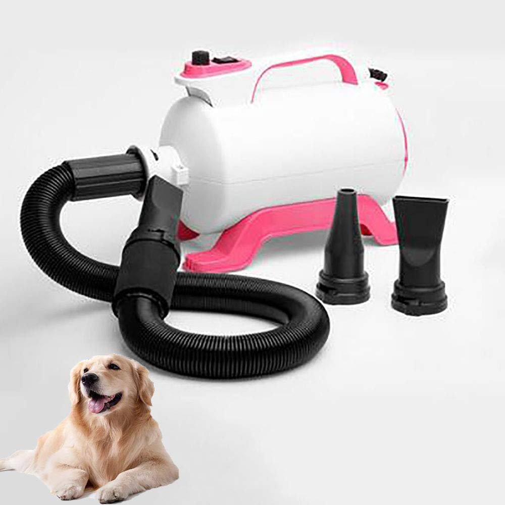 Pet Hair Force Quiet Dryer Professional Stepless Adjustable Speed Dog Grooming Blower With Built-in Heater For Dogs, Cats, Pets 3 Nozzles (Pink)