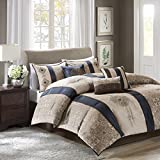 Madison Park Donovan King Size Bed Comforter Set Bed In A Bag - Taupe, Navy, Jacquard Pattern – 7 Pieces Bedding Sets – Ultra Soft Microfiber Bedroom Comforters