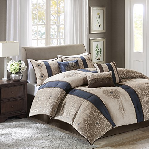 Donovan 7 Piece Jacquard Comforter Set Navy Queen