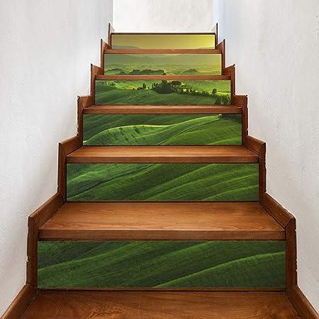 Etiqueta Engomada De La Escalera Creativa 3D Montaña Verde Bricolaje Etiqueta Engomada De La Escalera Restaurada Autoadhesiva Etiqueta De La Pared A Prueba De Agua: Amazon.es: Hogar