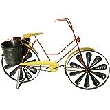 Windrad Fahrrad mit Pflanztöpfe zum Stellen aus Eisen in rot-gelb für Garten Terrasse Balkon 62 cm groß