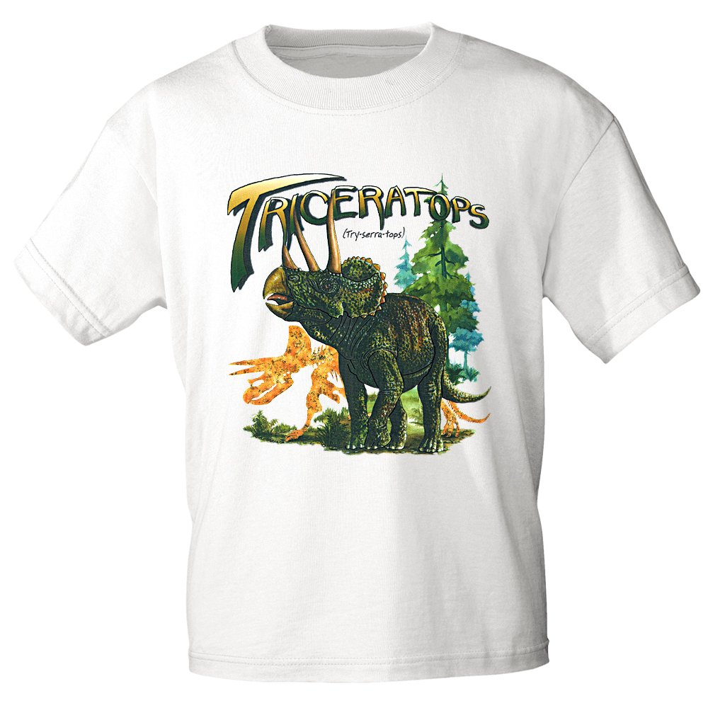 Fan-O-Menal Textilien Bambini t-Shirt con Stampa –  Triceratops Dinosauro –  12758 Versch. Colori Misura 98 –  164