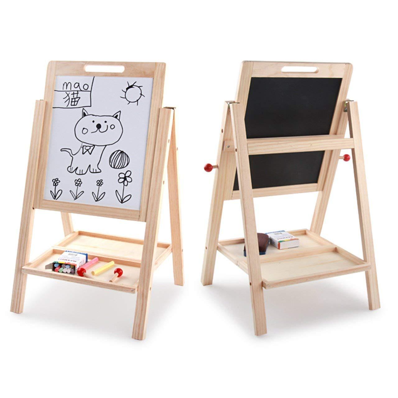 Jasnyfall Enfants en Bois apprenant Le Tableau d/écriture Double Face Multicolore