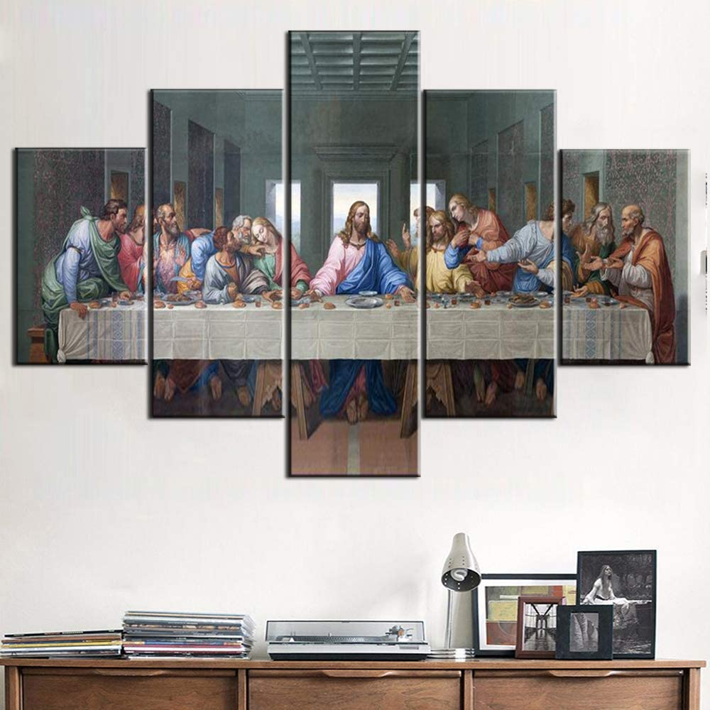 Wall Pictures for Living Room Jesus Christ Wall Art Last Supper Paintings 5 Panel Canvas The Lord's Supper Home Decor Modern Artwork Giclee Wooden Framed Gallery-wrapped Ready to Hang(60''Wx40''H)