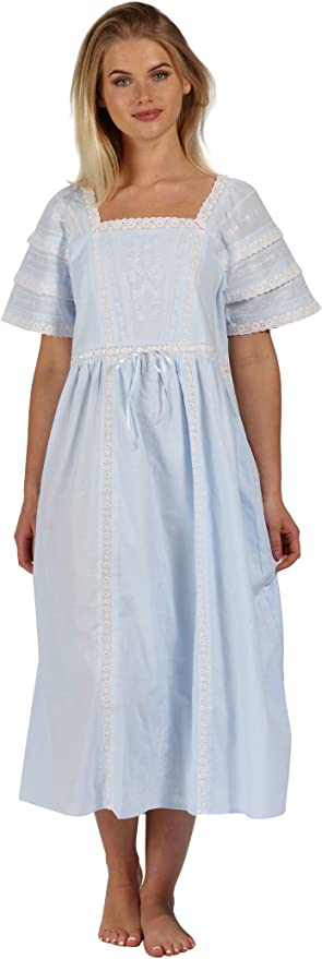 100/% Cotton Lawn Victorian Style White Nightdress 34 Length Sleeves by Cottonreal Edith