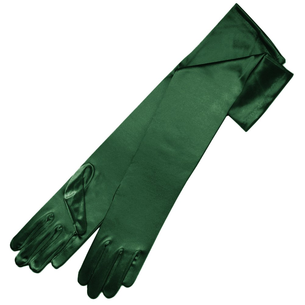 ZaZa Bridal 19'' Long Shiny Stretch Satin Dress Gloves 12BL-Hunter Green