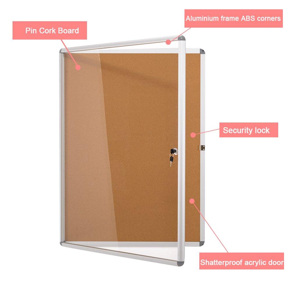 9xA4 SwanSea Verrouillable Bullentin Boards Magn/étique Avisboard Tableau blanc Vitrine 98x72cm