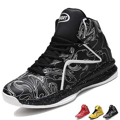 LANSEYAOJI Hombre Zapatillas de Baloncesto Calzado Deportivo Al Aire Libre Moda High-Top Sneaker Antideslizante Zapatillas de Deporte Ligeros Zapatos ...