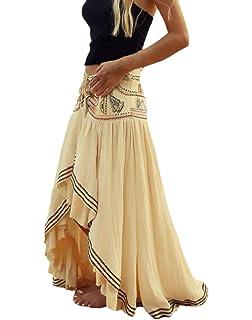 Mujer Faldas Largas Verano Playa Elegantes Niñas Ropa Vintage ...