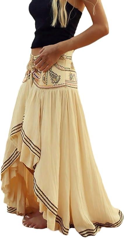 Mujer Faldas Largas Verano Playa Elegantes Vintage Hippies Boho ...