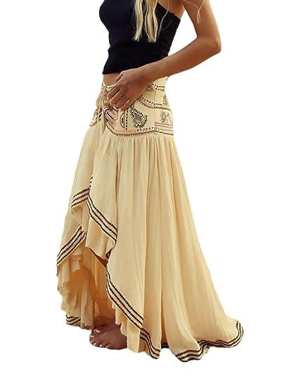Saoye Fashion Mujer Faldas Largas Verano Playa Elegantes Niñas Ropa Vintage Hippies Boho Impresa Falda Cintura