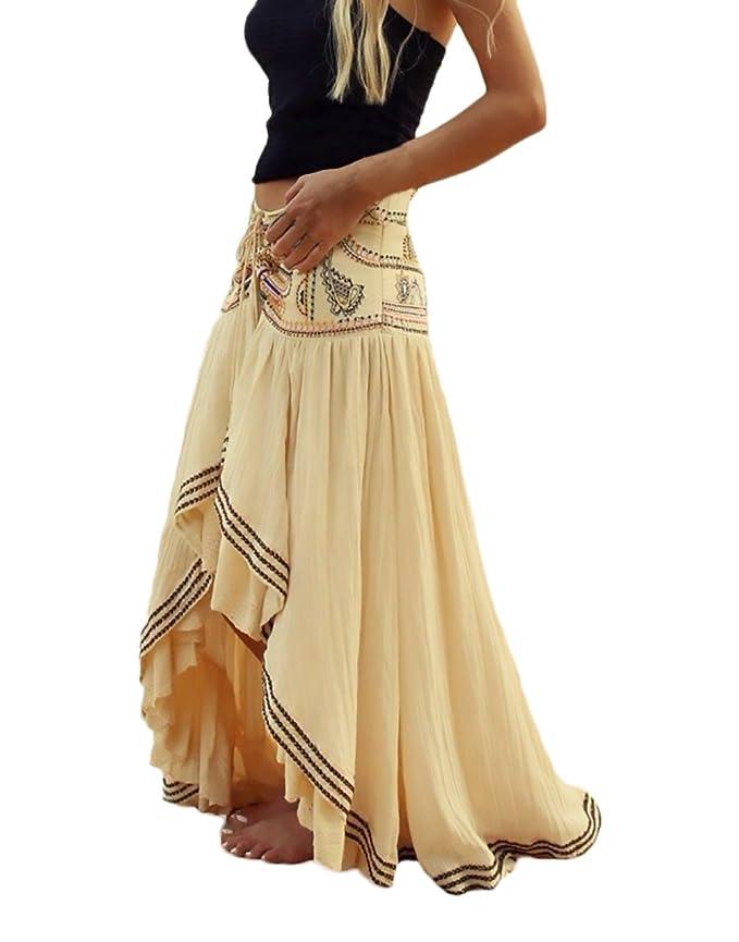 cc1263297e Mujer Faldas Largas Verano Playa Elegantes Vintage Hippies Boho Impresa  Falda Cintura Alta Irregular Dobladillo Falda Plisada Ropa Fiesta Moda   Amazon.es  ...
