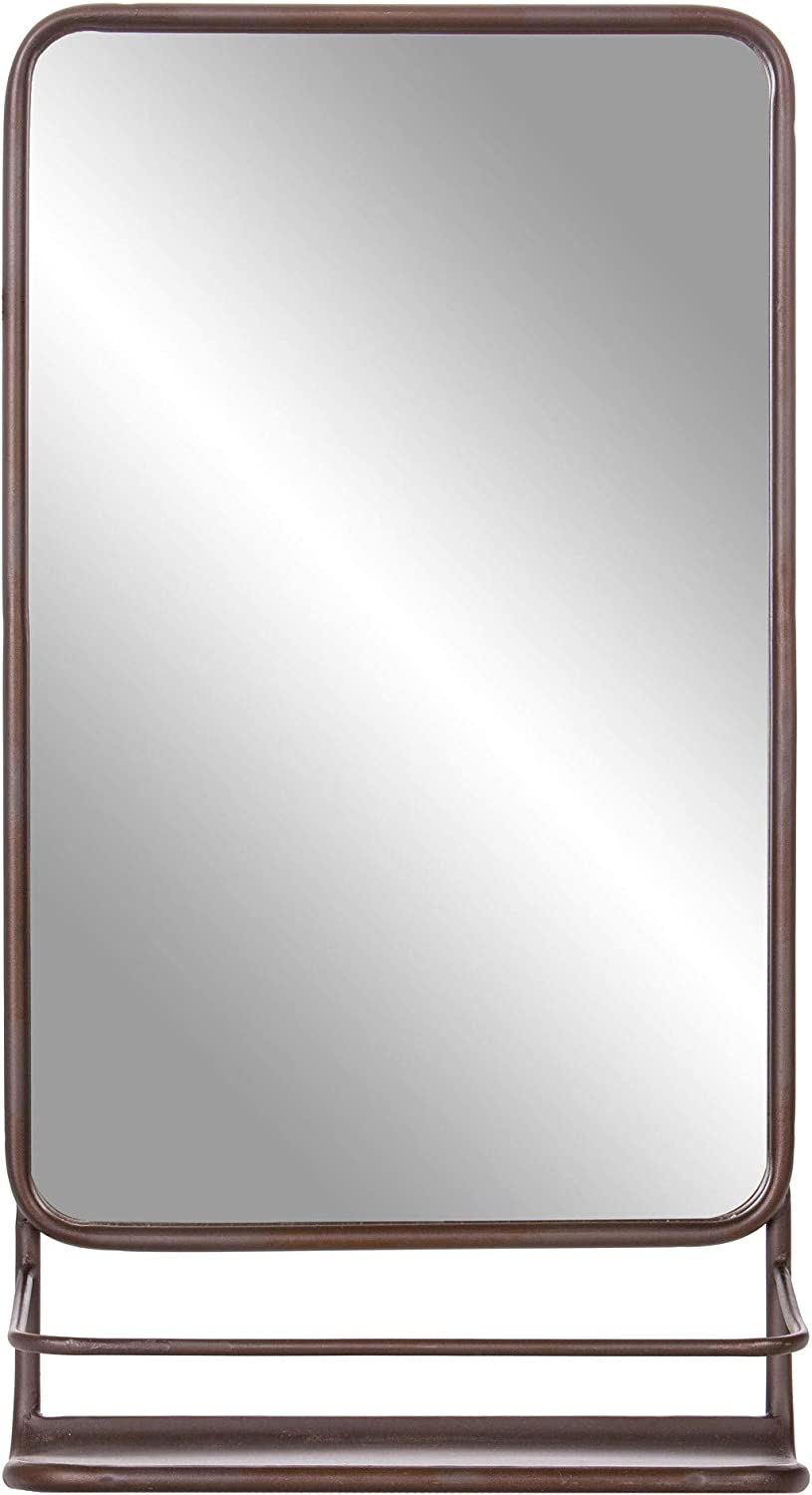 Bronze Metal Wall Accent Mirror with Shelf