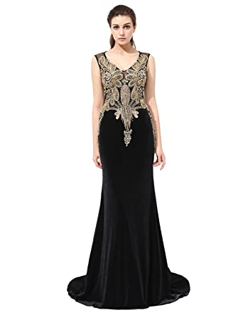 Amazon.com: Sarahbridal Women\'s Gold Appliques Mermaid Evening Gowns ...