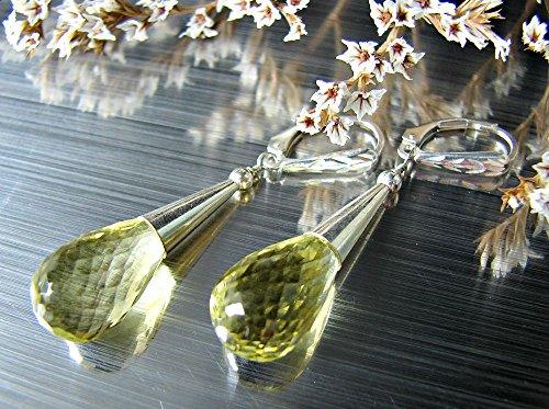 Lemon quartz earrings. Bold drop earrings. Sterling silver cone - Lemon Quartz Drop
