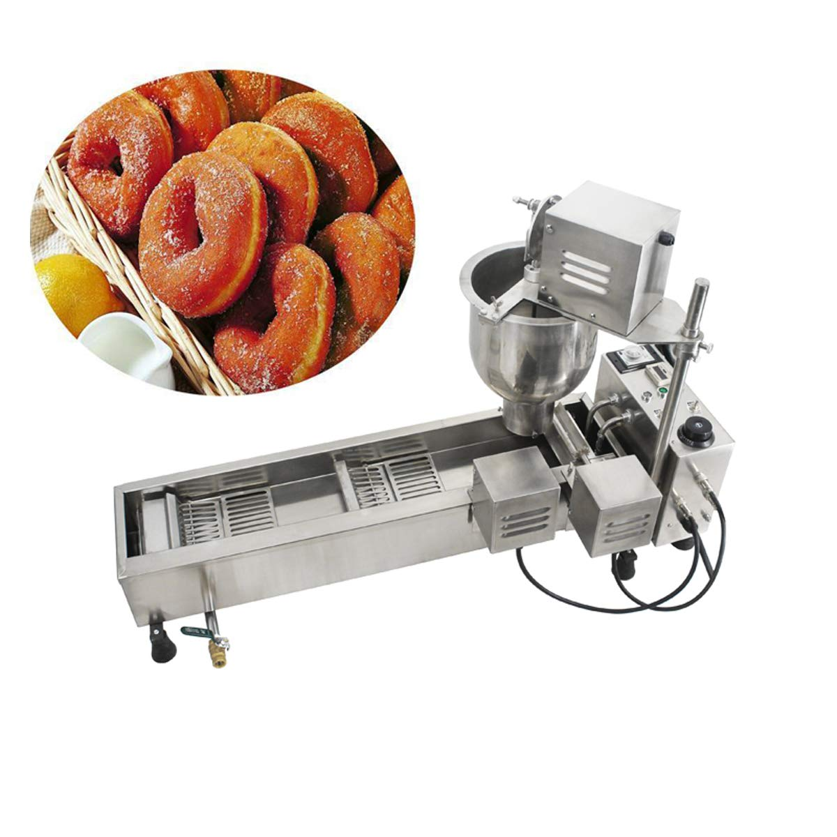 INTBUYING Donut Frying Machine Commercial Full Automatic Donut Maker Wide Oil Tank 220V by INTBUYING