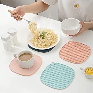 6 Pack Silicone Trivets Hot Pot Holders Pad or Mat for Hot Pots and Pans – Food-Safe Heat-Resistant (440ºF) & Eco-Friendly – Doubles as Jar Opener Gripper by Homeo (Mint Green)