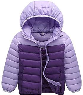 AIEOE Kids Toddlers Hooded Down Jacket Colorblocked Long Sleeve Warm Coat Lightweight Zipper Outwear