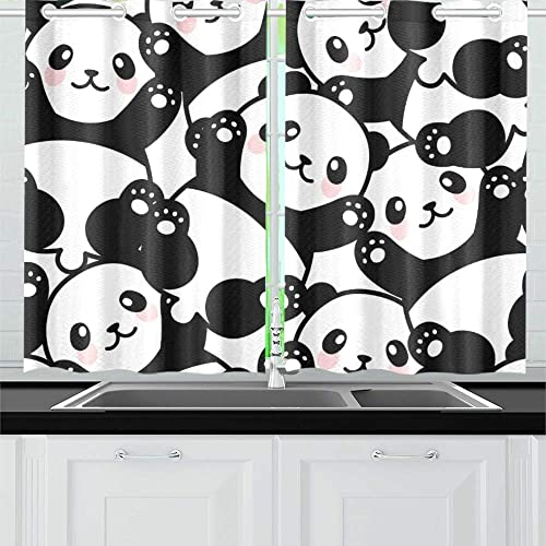 YUMOING Cute Panda Kitchen Curtains Window Curtain Tiers for Caf , Bath, Laundry, Living Room Bedroom 26 X 39 Inch 2 Pieces