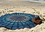 Round Beach Tapestry hippie/Boho Mandala Beach Towel Blanket Indian Cotton Bohemian Round Table cloth Mandala Decor/Yoga Mat Meditation Picnic Rugs 72 inch Circle