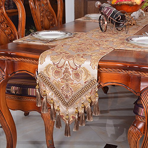 Modern Jacquard Floral Table Runner Handmade Tassel Embroidered Table Flag Khaki 13 By 54 ()