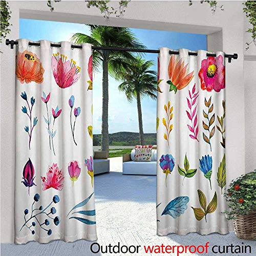 homehot Watercolor Patio Curtains Various Types of Gardening Plants Artistic Flowers Spring Nature Soft Blossoms Outdoor Curtain for Patio,Outdoor Patio Curtains W72 x L108 Multicolor