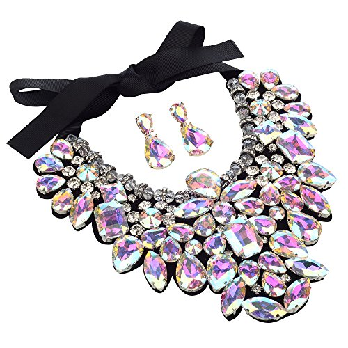 3 Colors Costume Statement Necklace for Women Jewelry Fashion Necklace 1 Set with Gift Box (Crystal)