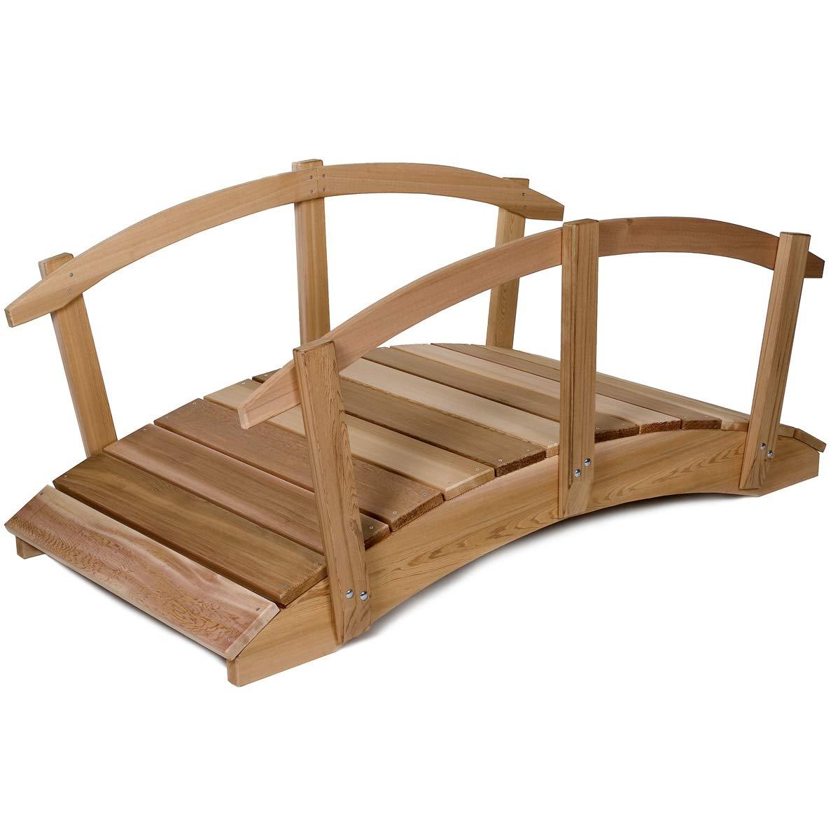 All Things Cedar FB72-R 6-ft Cedar Garden Bridge with Side Rails
