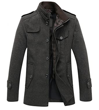 c883ec34f347 Cookieslove Herren Wollmantel Wintermantel Coat Stehkragen Herbst Jacke mit  Knopfleiste und Reißverschluss Business Übergangsjacke Trenchcoat Parka