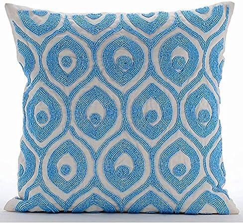 Cuscini 35x35.Blu 35x35 Cm Art Silk Federa Cuscino Seta Fodere Per Cuscini In