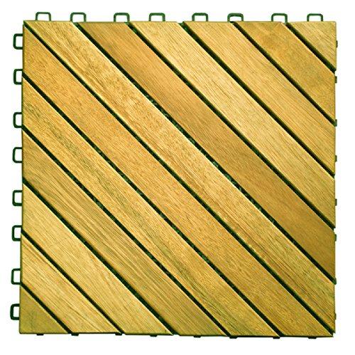 (11 Diagonal Slat Acacia Interlocking Deck Tile (Teak Finish))