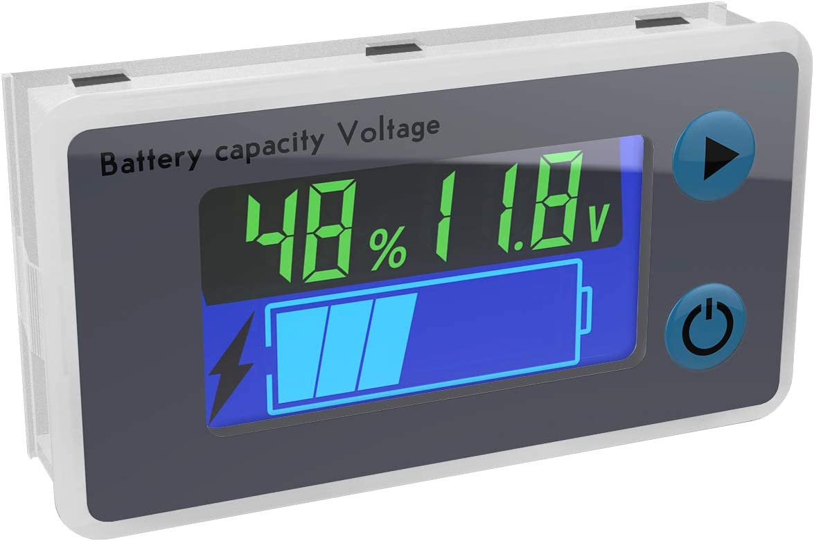 DROK 10-100V Digital Battery Capacity Tester, Battery Monitor