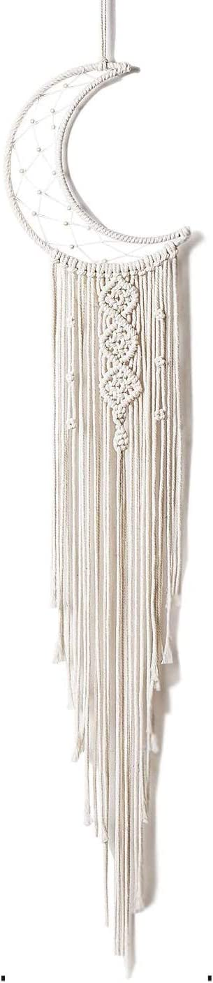 Samhita Moon Design Dream Cather, Macrame Wall Hanging, Home Décor, Ornament Festival Gift, Gifts for Teenage Girls, Wall Decor, Living Room, Wedding and Party Decoration.