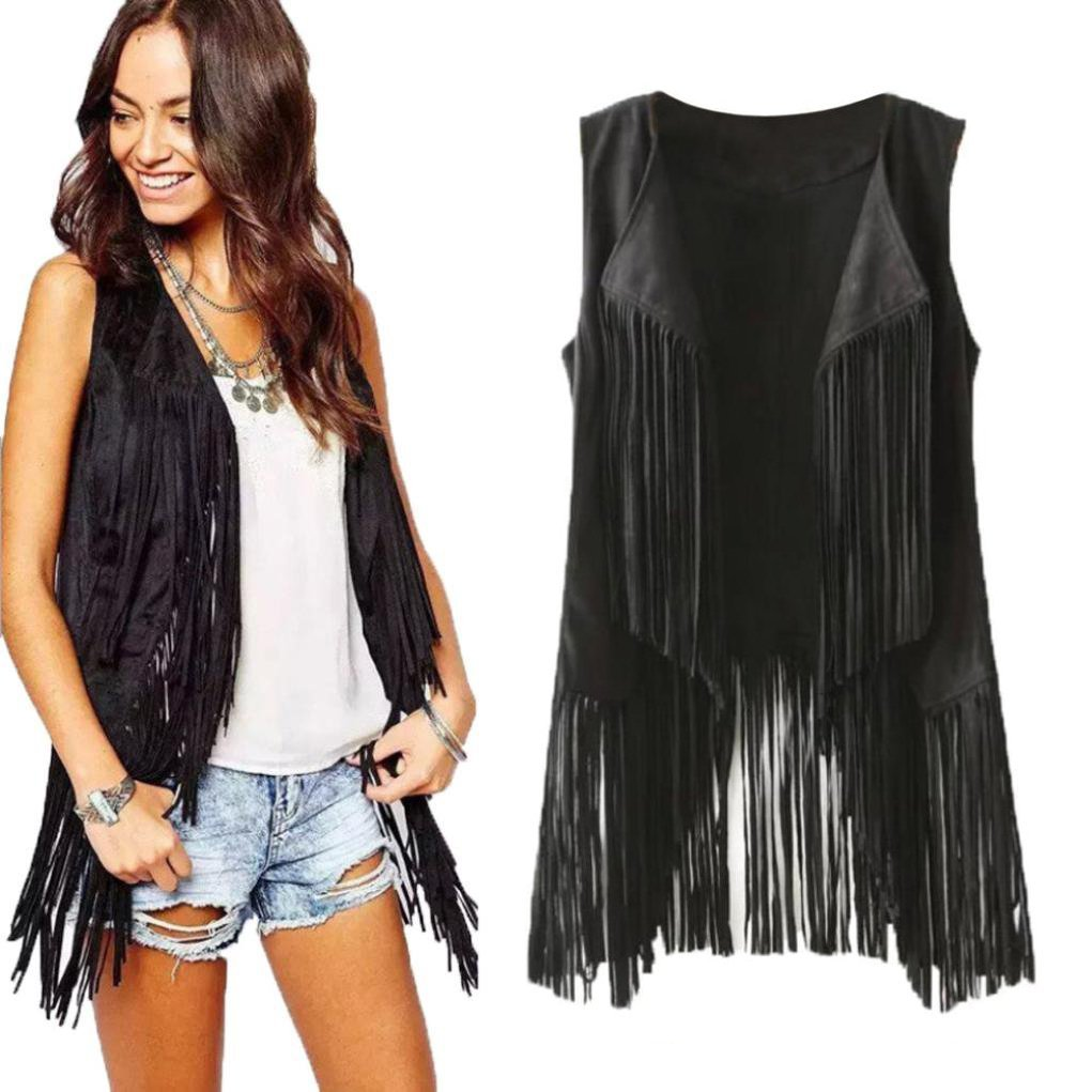 FDelinK Clearance! Women Faux Suede Ethnic Sleeveless Tassels Fringed Vest Open Front Kimono Cardigan (Black, M)