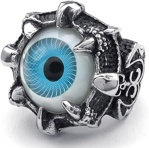 Super Cool Stainless Steel Dragon Claw Blue Evil Eye Skull Biker Ring
