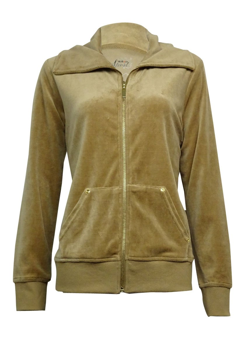 Style & Co. Women's Pouch-Pocket Solid Velour Jacket (L, Camel Luxe)