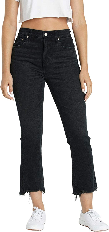 DAZE Women's Shy Girl High Rise Crop Flare Denim Jeans with Frayed Hem