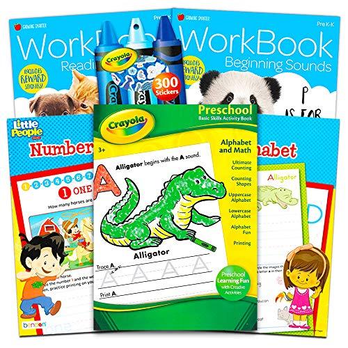 Crayola Preschool Workbooks Bundle — 5 Pre-K Learning Workbooks for Preschoolers and Reward Stickers (Alphabet…