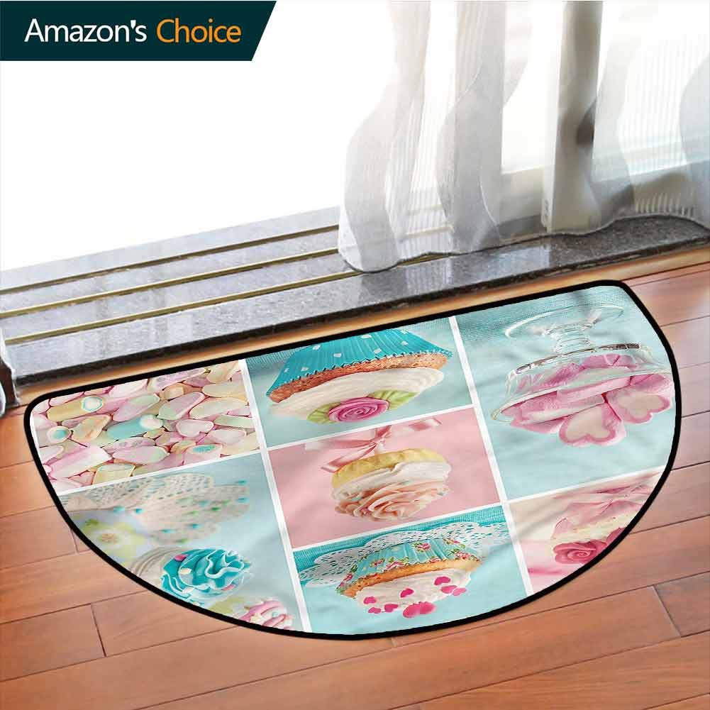 DESPKONMATS Kitchen Bedroom Semi-Circular Rug, Cupcakes and Marshmallows Rug Multi Colored, Phthalate Free, Rugs for Office Stand Up Desk, Half Circle-W39.4 x R23.6 INCH by DESPKONMATS