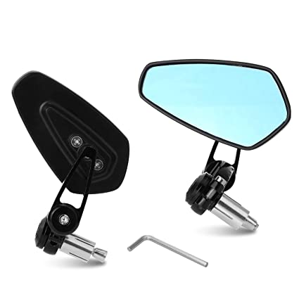 "Pair of Black Motorcycle Round 7//8/"" Handle Bar End Rear View Side Mirrors 22mm"
