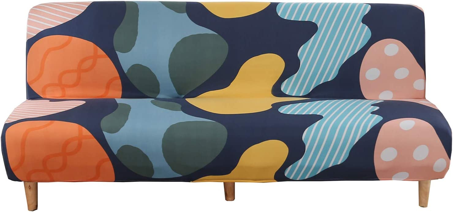 WOMACO Printed Futon Cover Stretch Sofa Bed Slipcovers Full Twin Queen Size Armless Couch Loveseat Protector Covers with Elastic Bottom for Living Room Bedroom Furniture (Colorful, 63