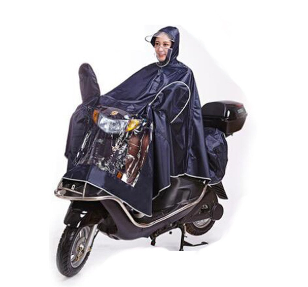 Biscount Bike Waterproof Rain Coat Cycle Windproof Raincoat Bicycle Cape Cycling Poncho Two Face Masks & Reflective Stripe-Black by Biscount