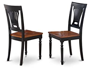 East West Furniture PVC-BLK-W Kitchen/Dining Chair Set with Wood Seat, Black/Cherry Finish, Set of 2