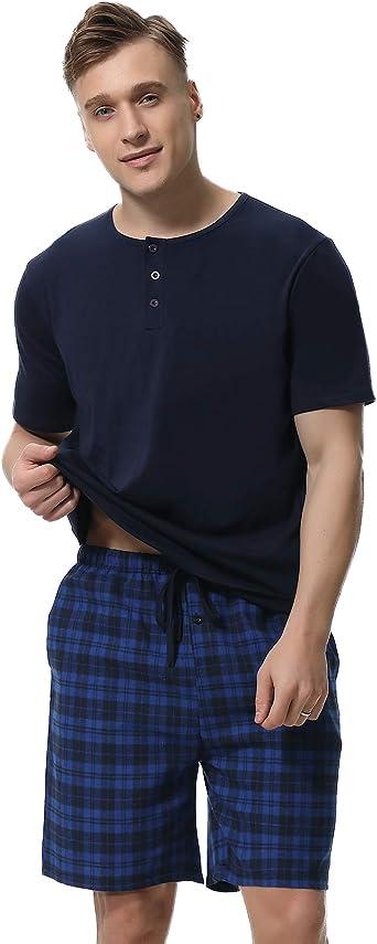 iClosam Pijama Hombre Corto Conjunto,Verano Camiseta y Pantalones Algodón Ropa de Dormir Set Cómodo y Suave Talla S-XXL