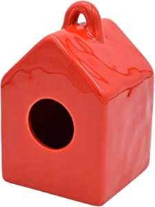 ChirpCo Mini Garden Ceramic Birdhouse for Home Decor- Accent for Shelf Decor, Outdoor Decor or Tiered Serving Tray. Shelf Decorations for Living Room and Kitchen Table Decor, Red
