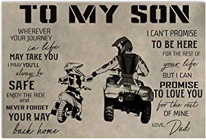 ATV DAD and Dirt Bike - to My Son Horizontal Poster No Frame; Wall Decor Bedroom, Living Room, Office