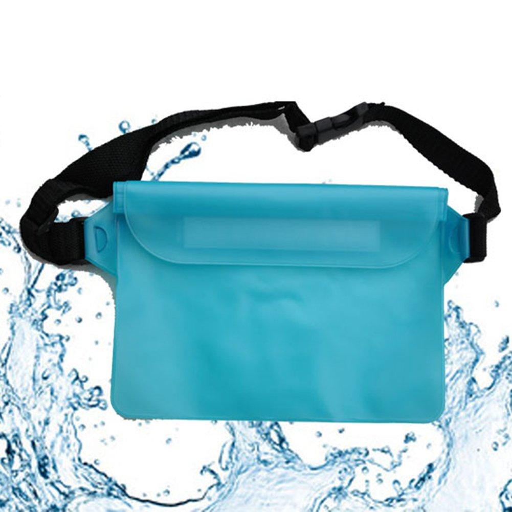 EMVANV 3couches étanche Sac banane flotteur automatiquement de natation de plage Dry Pouch Coque de téléphone Portefeuille Underwater Fanny Lot bleu clair