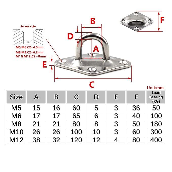 tornillos incluidos M9 Plato de gancho para techo Placa ocular 304 Acero inoxidable Gancho para montaje en pared Servicio pesado para colgar Paquete de 2